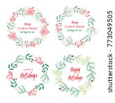christmas wreaths with berries  ... | Shutterstock .eps vector #773049505