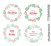 christmas wreaths with berries  ... | Shutterstock .eps vector #773049508