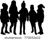 vector silhouette of children...