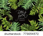 vector botanical horizontal... | Shutterstock .eps vector #773054572