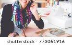 young dressmaker designing...   Shutterstock . vector #773061916