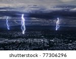 View Of A Lightning Over City...