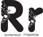 swirl doodle alphabet letter r...   Shutterstock .eps vector #773064556