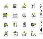 ecology and electric car icons  ...   Shutterstock .eps vector #773068726