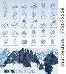 vector set of thin line hiking... | Shutterstock .eps vector #773073226