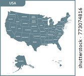 the detailed map of the usa... | Shutterstock . vector #773074816