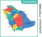 the detailed map of the saudi... | Shutterstock . vector #773074888