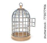 empty bird cage opened 3d... | Shutterstock . vector #773077906