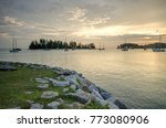 sea view at sunset with ship... | Shutterstock . vector #773080906