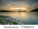 sea view at sunset with ship... | Shutterstock . vector #773080912