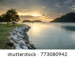 sea view at sunset with ship... | Shutterstock . vector #773080942