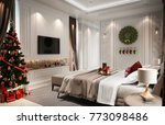 christmas in bedroom with a...   Shutterstock . vector #773098486
