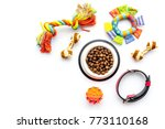 Stock photo concept pet care playing and training toys accessories and feed on white background top view 773110168