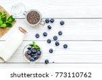 eat chia seeds for breakfast...   Shutterstock . vector #773110762