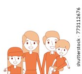 portrait family dad carrying... | Shutterstock .eps vector #773112676