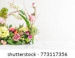 beautiful bouquet of flowers in ... | Shutterstock . vector #773117356