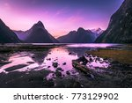 sunset at milford sound ... | Shutterstock . vector #773129902