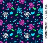 memphis flower seamless pattern ... | Shutterstock .eps vector #773133556