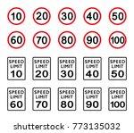 set of speed limit sign. symbol ... | Shutterstock .eps vector #773135032