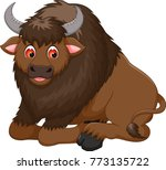 cute bison cartoon sitting with ... | Shutterstock .eps vector #773135722
