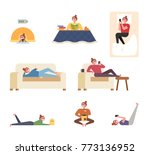 a woman character showing... | Shutterstock .eps vector #773136952