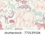 animals of wild world seamless... | Shutterstock .eps vector #773139106