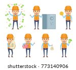 set of funny construction... | Shutterstock .eps vector #773140906
