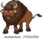 cute bison cartoon standing... | Shutterstock .eps vector #773141902