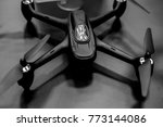 the drone is black on a dark... | Shutterstock . vector #773144086
