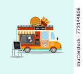 fast food truck. street and... | Shutterstock .eps vector #773144806