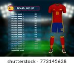 spain soccer jersey kit with... | Shutterstock .eps vector #773145628