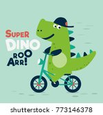 cute dinosaur rides on bicycle | Shutterstock .eps vector #773146378