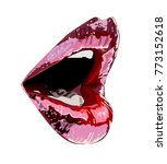 abstract red lips. open mouth... | Shutterstock .eps vector #773152618