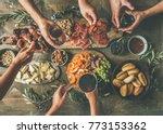 flat lay of friends hands... | Shutterstock . vector #773153362