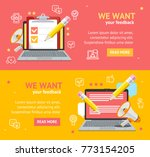 we want feedback banner card... | Shutterstock .eps vector #773154205