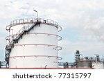 oil depot with oil tanks - stock photo