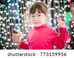 little girl with led lights... | Shutterstock . vector #773159956