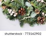 christmas wreath on white...   Shutterstock . vector #773162902