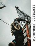 telecom worker climbing antenna ...   Shutterstock . vector #773163658