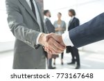 closeup.reliable handshake of... | Shutterstock . vector #773167648