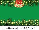 fir branch with neon lights and ... | Shutterstock . vector #773175172