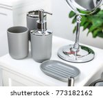 gray bathroom accessories | Shutterstock . vector #773182162