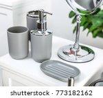 gray bathroom accessories | Shutterstock . vector #773182162