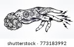 flash magic. inked human hand ... | Shutterstock .eps vector #773183992
