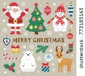 set of christmas elements. ... | Shutterstock .eps vector #773185165