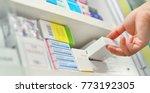 closeup pharmacist hand holding ... | Shutterstock . vector #773192305