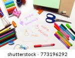 sheet with the colorful text | Shutterstock . vector #773196292
