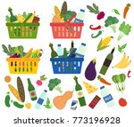 set of shopping baskets full of ... | Shutterstock .eps vector #773196928