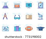 more school icon series in flat ... | Shutterstock .eps vector #773198002