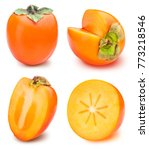 set of persimmon isolated on... | Shutterstock . vector #773218546